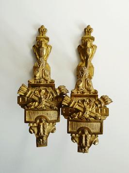 """2 antike Gardinenraffer Halter Bronze Frankreich um 1870 """"Empire"""""""