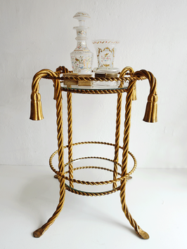 Vergoldeter Beistelltisch / Etagere aus Metallkordeln - Midcentury Regency-Stil