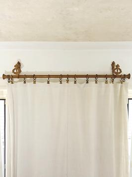 Antike Gardinenstange Messing 105cm mit Original Wandhaltern & 9 Ringen