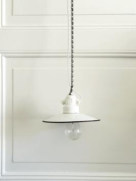 Antike weiße Emaille Lampe mit Porzellanfassung & Kette N.1 Klein