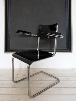 Vintage Bauhaus Stuhl Freischwinger Thonet S 43 F  oder B 43 F schwarz