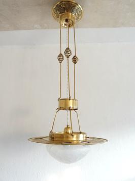 Antike Wiener Messing Jugendstil Leuchte mit Opalglas-Steinen