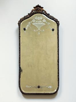 Antiker Art Deco Spiegel um 1920 mit Facett- & Dekorschliff Nurre Mirror USA