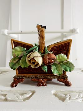 Jugendstil Keramik Korb Henkelschale mit Rosen