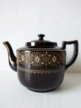 Antike Viktorianische Teekanne Nr.2 schwarz Emaille Dekor Gibson & Sons England 1L