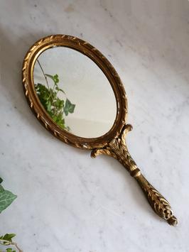 Antiker Holz Handspiegel aus Frankreich Shabby Gold