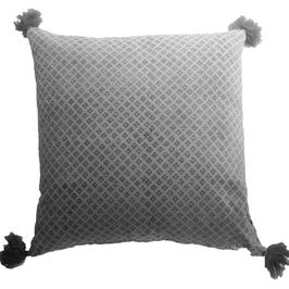 VAN DEUTRS Kissen mit Füllung (grau mit Puschel)