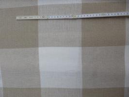 Dekostoff/Leinenstoff/Zählstoff Karo natur/weiß 180 cm V&H
