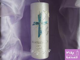 Hochzeitskerze Kreuz mit Teelicht Perlmutt -3