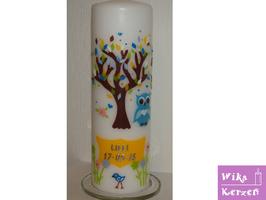Taufkerze Mädchen Junge Lebensbaum - Eule 3 Blau