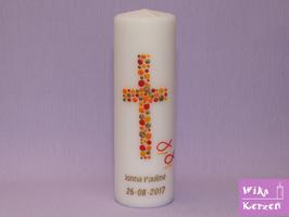 Taufkerze Kreuz Kreise 9