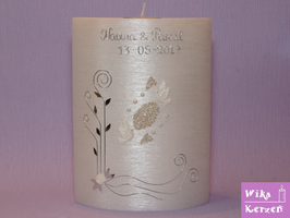 Hochzeitskerze Oval mit Teelicht Perlmutt 4