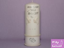 Hochzeitskerze Perlmutt-Tauben 1