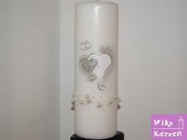 Hochzeitskerze Herz Silber 1