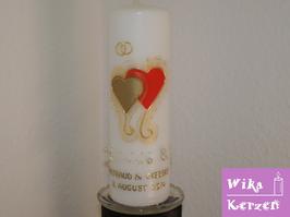 Hochzeitskerze Herz Gold 1