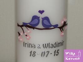 Hochzeitskerze Verliebte Vögel Flieder