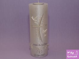 Hochzeitskerze mit Teelicht Perlmutt 4 Kreuz