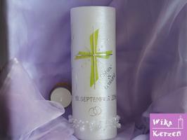 Hochzeitskerze mit Teelicht Perlmutt -1 Kreuz Grün