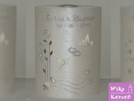 Hochzeitskerze Oval mit Teelicht Perlmutt 3