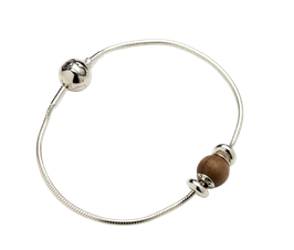 Starter set silver bracelet with walnut wood bead