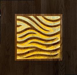 """Kunstwerk """"Energiefluss"""" – Eichenholz & 24 Karat Blattgold"""