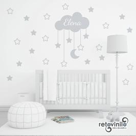 Infantiles / Nombres / Nube de estrellas y luna