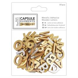Alphabet Metallic autocollant bois
