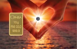 Herz aus 2 Händen mit einem Diamanten und einem Goldbarren - M2DG