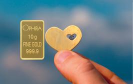 Herz im Herz mit einem Diamanten und einem Goldbarren - M3DG