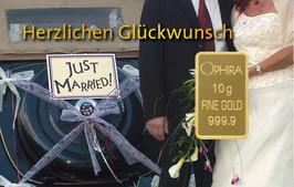 Hochzeit Just Married mit einem Diamanten und einem Goldbarren - M7DG