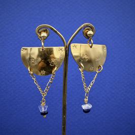 Boucles ethniques lapis lazuli et cristal de roche. Vendu