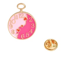 Romantic Pink  Clock Pin Brooch