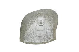 Bouddha joyeux dans sa roche en granite 50 cm