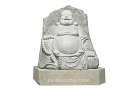 Bouddha rieur sur socle en roche basalte 87 cm