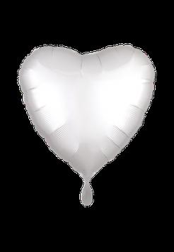 Folienballon Herz Weiß Metallic