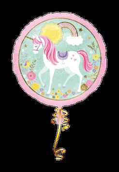 Folienballon Einhorn Rund