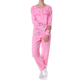 Badstof dames pyjama ROZE