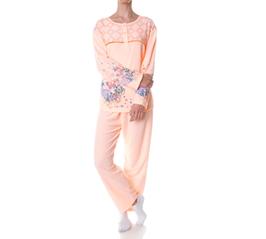 Badstof dames pyjama PERZIK