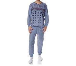 Badstof heren pyjama GRIJSBLAUW