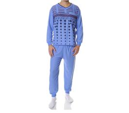 Badstof heren pyjama LICHTBLAUW