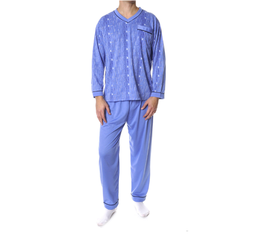 Flanellen heren pyjama LICHTBLAUW