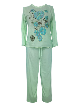 Dames pyjama met bloemmotief GROEN