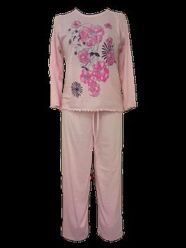 Dames pyjama met bloemmotief ROZE