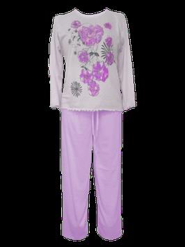 Dames pyjama met bloemmotief PAARS