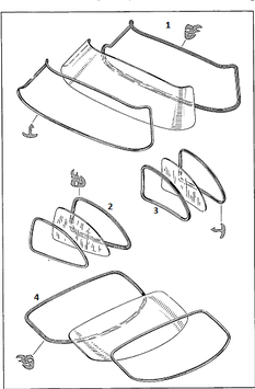 VgNr. 1986730220 Dichtung Seitenfenster hinten rechts Abdichtrahmen  OE  right rear seal rubber W198 300SL Flügeltürer