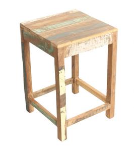 Taburete de madera policromada