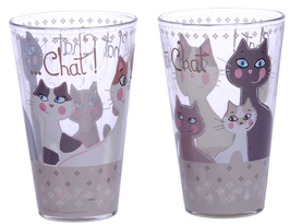 Lot de 2 verres Chat FOX TROT