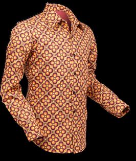 Hemd Retro Dotsgrid braun-orange