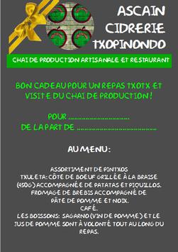 BON CADEAU POUR UN REPAS TXOTX ET VISITE DU CHAI DE PRODUCTION