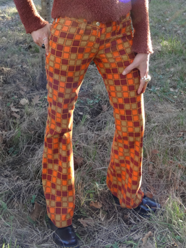 Pantalon léger velours finement côtelé carreaux orange/marron